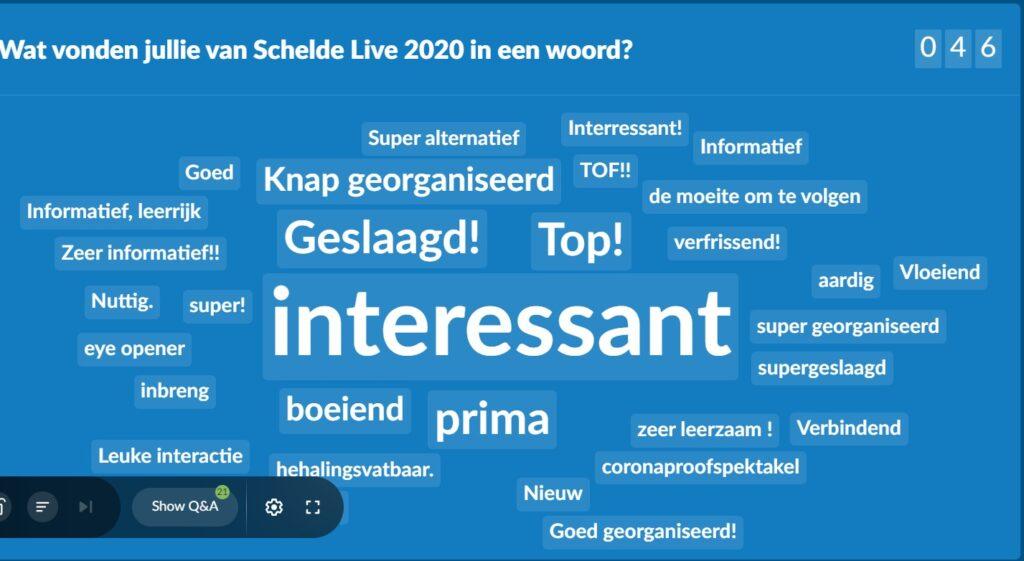 Wordcloud van de reacties op Schelde Live uit de chat.
